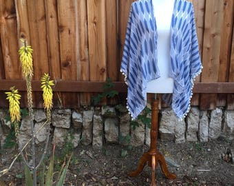 Light Blue and White Aztec summer style shawl, light-weight cover up, wide enclosed arms, sheer like, 100% cotton