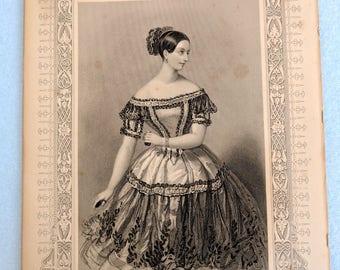 Victorian European line engravings of famous ballerinas, framed
