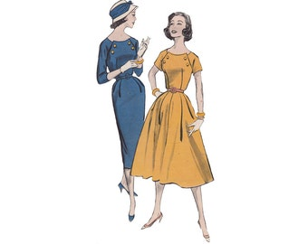 1950s Fit and Flared Dress or Wiggle Dress Bust 38 Butterick 8406 Scoop Neckline Double Breasted Trim Rockabilly Sewing Pattern