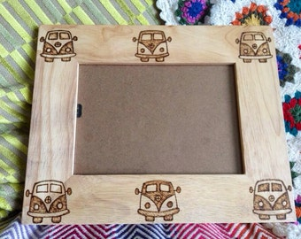 VW Campervan 8 x 10 Picture Frame Pyrography