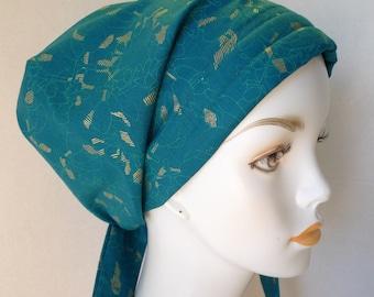 Elegant Teal & Gold Cancer Chemo Cotton Hat Scarf Cap Head Wrap Alopecia Turban Bad Hair Day