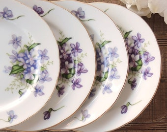 Mismatched Spring Violets Rossetti Bread Plates Set of 4 Dessert Plates Purple and Blue Violets Occupied Japan Bridesmaid Luncheon