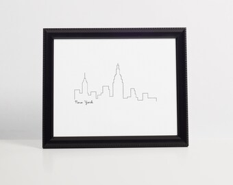 New York Skyline Art Print 8x10 Printable