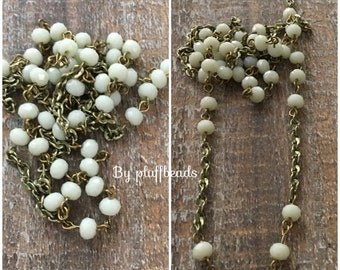 ON SALE BC133 Vintage Style Handmade Linked Layering Chain with Faceted 6mm Alabaster crystals  and Chain