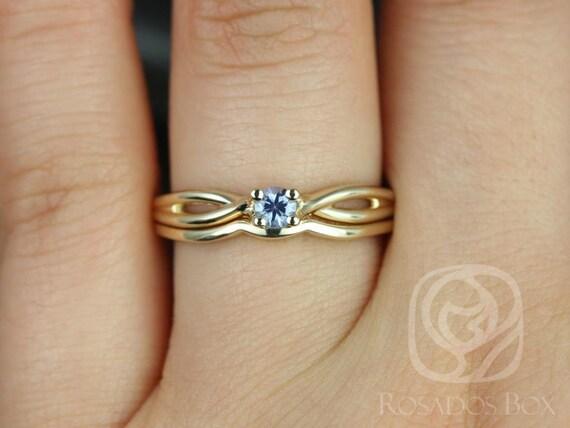 Rosados Box Erika 3.5mm 14kt Yellow Gold Round Blue Sapphire Double Twist Wedding Set