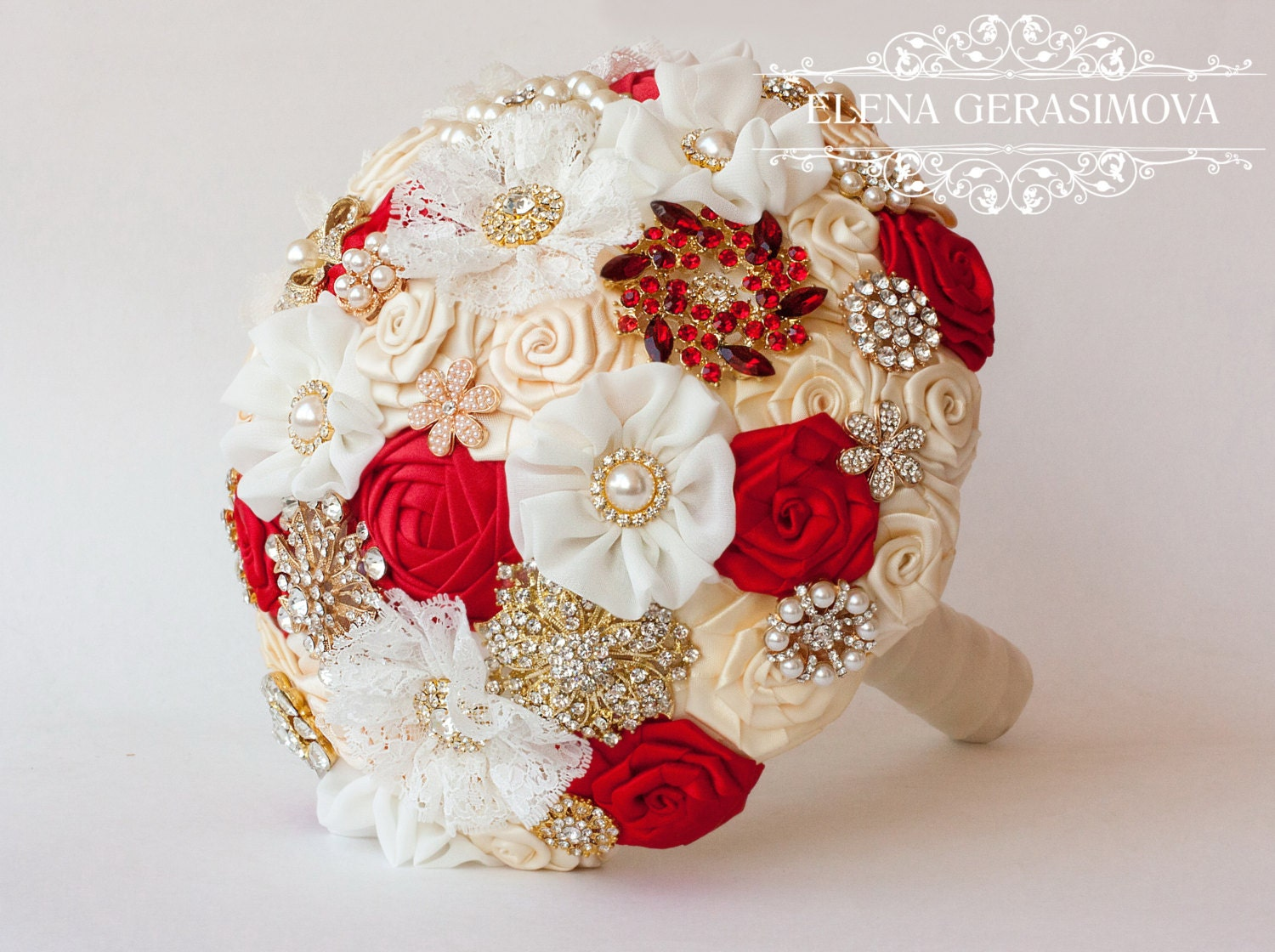 Brooch Bouquet Ivory Red Gold Fabric Wedding Unique