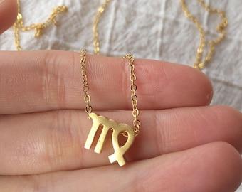 Virgo necklace, gold virgo necklace, virgo charm, zodiac necklace, star sign, horoscope necklace, gifts for her, virgo sign, zodiac jewelry