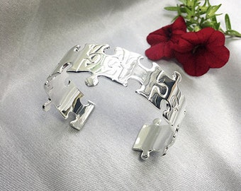 Sterling Silver Jigsaw Cuff Bangle