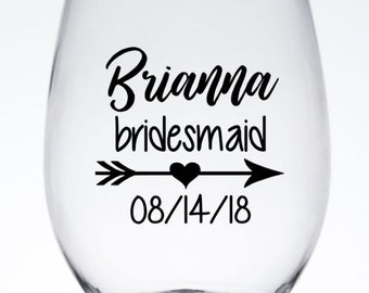 Personalized Heart Arrow Bridal Party Wine Glass Decals, Custom Bridesmaid Tumbler Decals, Cups NOT Included