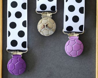"Clip pacifier/strap ""ball"" Purple METAL clip"