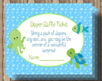 DIAPER RAFFLE TICKET Under the Sea BAby Shower / Printable Digital File /Sea Animal Ocean Animal Baby Shower / Matching Invitation Available