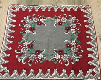 Vintage Burgundy and Gray Floral Handkerchief Hanky- fall hanky, red and gray hanky, burgundy hanky