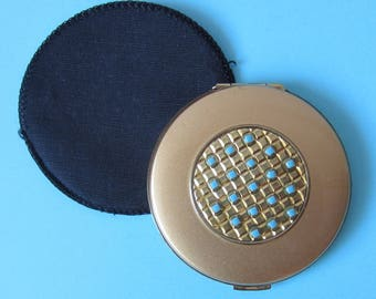 Vintage Gold Tone Powder Compact with Blue Bead Design