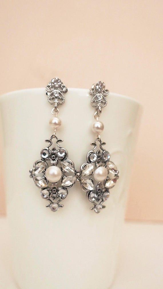Vintage Inspired Bridal Earrings Swarovski Pearl Marquise