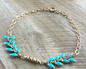 Teal Chevron Goldfill and Brass Bracelet