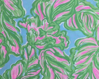 "in the bungalows poplin cotton fabric square 18""x18"" ~ lilly pulitzer"