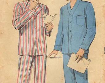 1950s Advance 5878 Vintage Sewing Pattern Men's Pajamas Size 38-40, Size 42-44, Size 46-48