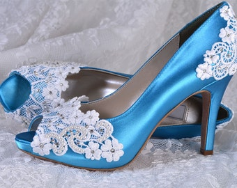 "Lace Wedding Shoes - Custom 250 Color Choices- PB525A Vintage Wedding Lace Peep Toe 3 1/4"" Heels, Women's Bridal Shoes"