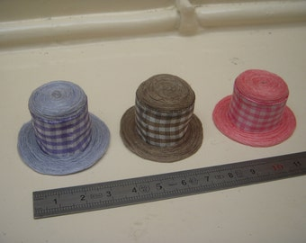 Hat miniature gingham 1/12th - 3 color choices