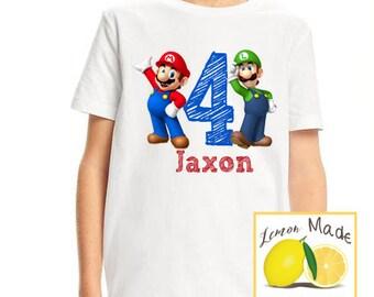 Mario and Luigi birthday boy t shirt with name