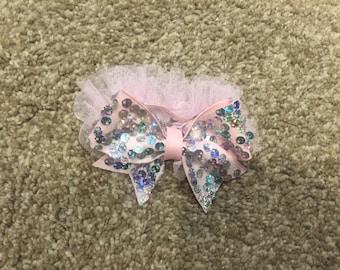 Sequin bow on tulle headband