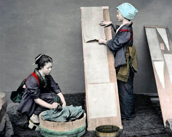 """1870's Two Japanese Women with Laundry Vintage Photograph 8.5"""" x 11"""" Reprint"""