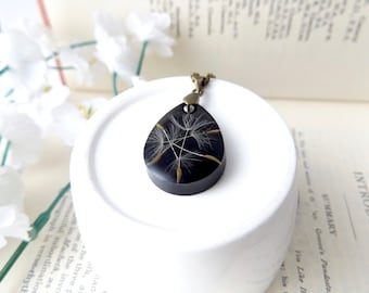 Dandelion pendant - free gift box - tear drop shape - real dandelion seeds - handmade gifts for women - real seed necklace
