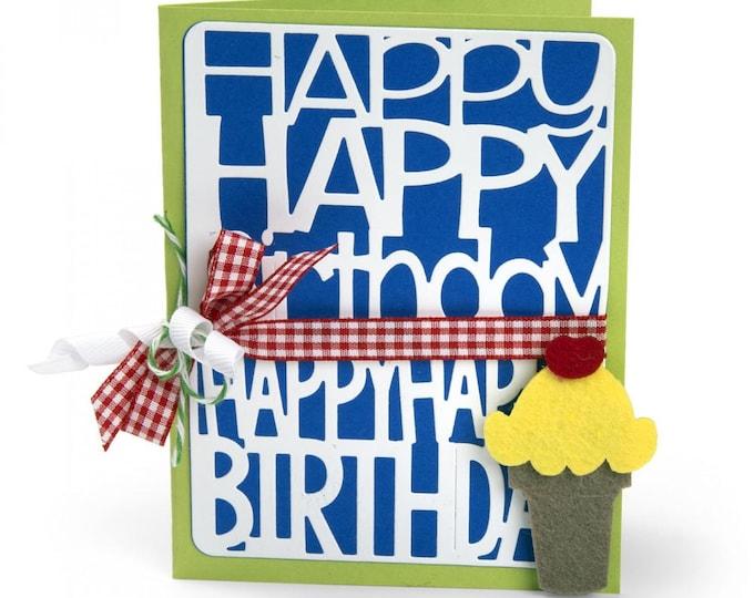 New! Sizzix Thinlits Die Set 2PK - Happy Birthday by Stephanie Barnard 662253