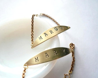 ID bracelet. Personalized name, date or rustic monogram. Vintage brass pendant and chain.