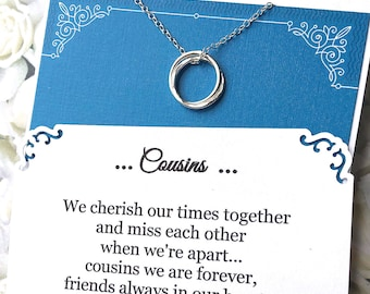 COUSINS Necklace w POEM Card for 2 or 3 Cousins INSEPARABLE RiNGS Sterling Silver Jewelry for Cousin Gift for Cousin Poem Gift Wrapped