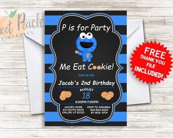 Cookie monster 1st birthday invite invitation 7x5 digital cookie monster birthday invite 5x7 personalized digital cookie monster invitation 1340 filmwisefo