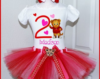 New Daniel Tiger Valentine tutu Birthday outfit  Personalized with name Red Hot Pink and Pink Tutu