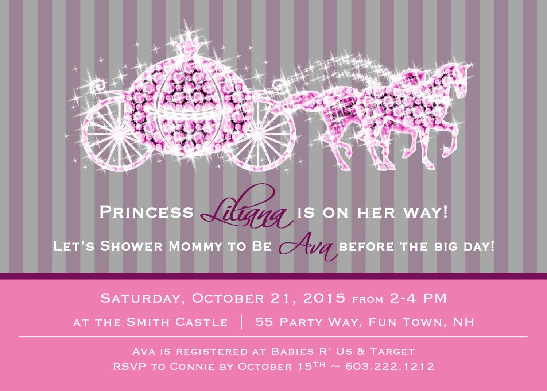 Princess Baby Shower Invitation Girl Princess Baby Shower
