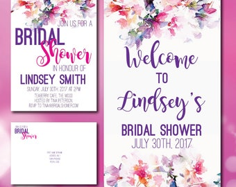 Watercolour Bridal Shower Invitation & Welcome Sign