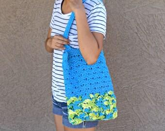 Crochet tote bag shoulder bag 100% cotton avoska handmade bag beach farmers market boho bohemian blue yellow green Caribbean colors