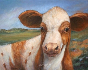 Cow Painting-Cow Decor-Giclee On Canvas-'Curious Calf'