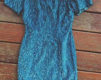 Gorgeous Blue Silk and Sequin Vintage Dress - Size 4