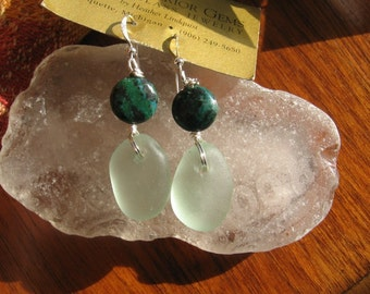 Dangly Sea Foam Green Lake Superior Beach Glass  Earrings