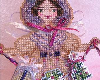 Brooke's Books Peg, The Plum Pudding Angel Ornament INSTANT DOWNLOAD Cross Stitch Chart