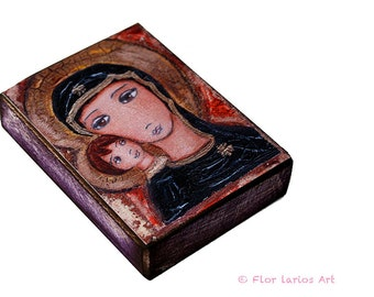 Byzantine Madonna with Child - ACEO Giclee print mounted on Wood (2.5 x 3.5 inches) Folk Art  by FLOR LARIOS