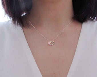 Hammered circle necklace, dainty necklace , best friends necklace, sisters necklace, ring necklace