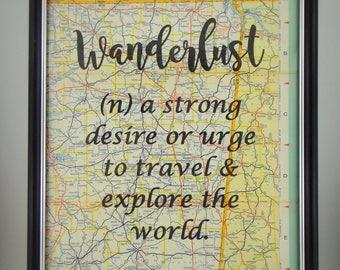 Framed WANDERLUST Printed on Real Map