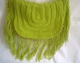 Green bag, crochet, hippy, festival, boho, shoulder bag