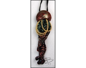 Jellyfish bolo style necklace or wall hanging -  in orange green & gold