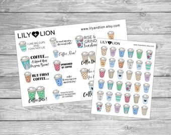 COFFEE Planner stickers - Takeaway cup - Plum paper - erin condren - happy planner - TN - Diary