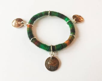 Three Pennies OOAK Yarn Wrapped Bangle Bracelet Made with Vintage US Cent Coins with Handpainted Wool Over Cotton