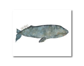 Gray Whale Ocean Watercolor Print Nursery Nautical Coastal Giclee Fine Art
