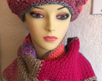 Crochet beret and scarf set