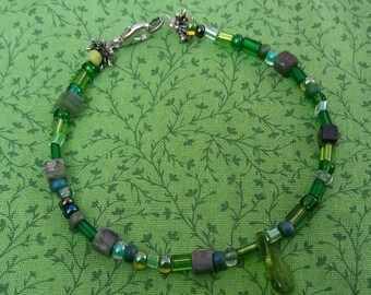 Woodland Fairy Beaded Bracelet in Shades of Greens