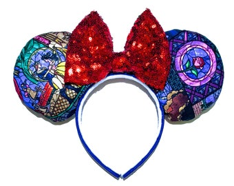 Beauty and the Beast Mouse Ears - Belle Mouse Ears - Beauty and the Beast Stained Glass Ears - Belle Minnie Mouse Ears Inspired